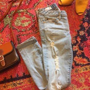 Gap Distressed Light Wash Skinny Jeans